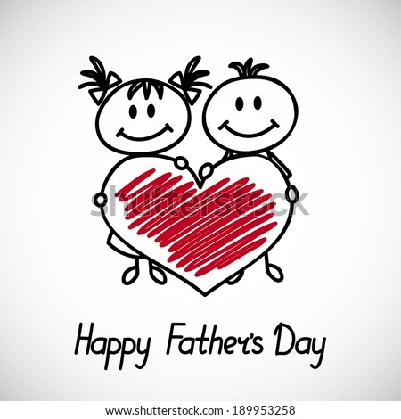 boy and girl with big heart (cartoon doodle). Happy fathers day card - stock vector