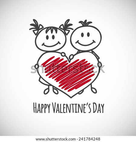 boy and girl with big heart (cartoon doodle). Happy Valentine's day card - stock vector