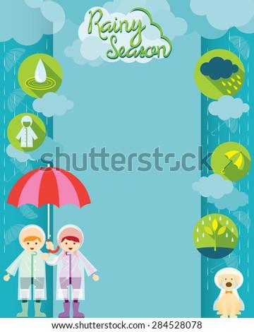 Boy and Girl with Umbrella Rainy Season Icons Frame, Monsoon, Rain,  - stock vector