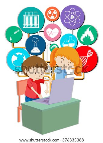 Boy and girl working on computer illustration - stock vector