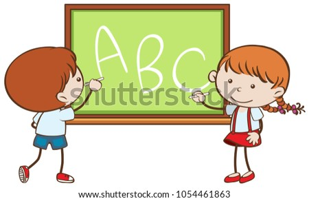 boy girl writing on chalkboard illustration stock vector 2018 rh shutterstock com