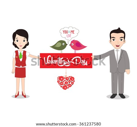Boy and girlfriend holding Valentine's day note - stock vector