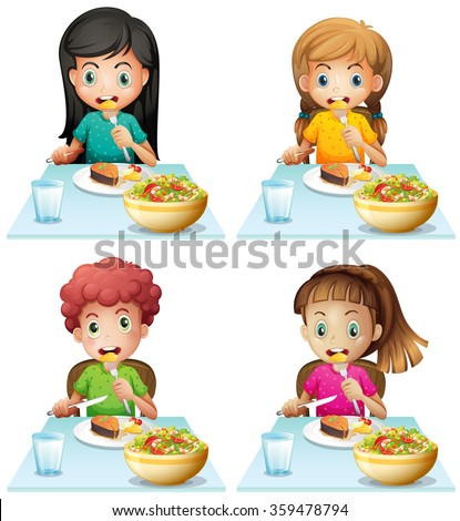Boy and girls eating at the dining table illustration - stock vector