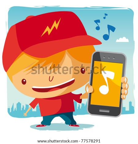 Boy and his mobile phone - music - stock vector