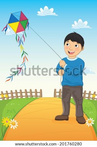 Boy and Kite Vector Illustration - stock vector