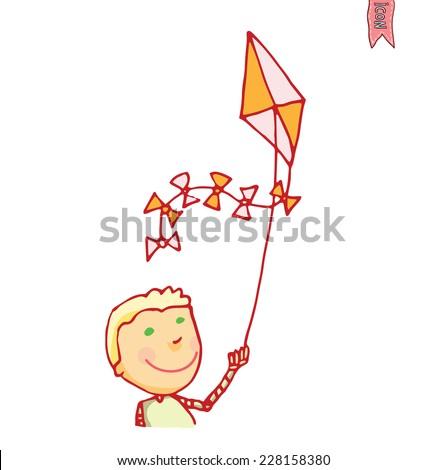 Boy and kite, vector illustration. - stock vector