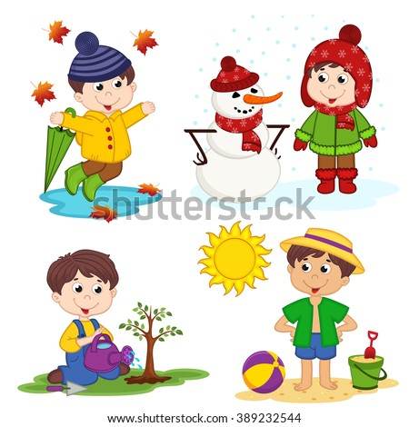 boy and the four seasons - vector illustration, eps - stock vector