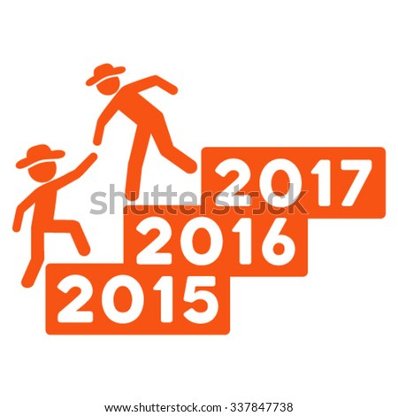 Boy Annual Help vector icon. Style is flat symbol, orange color, rounded angles, white background.