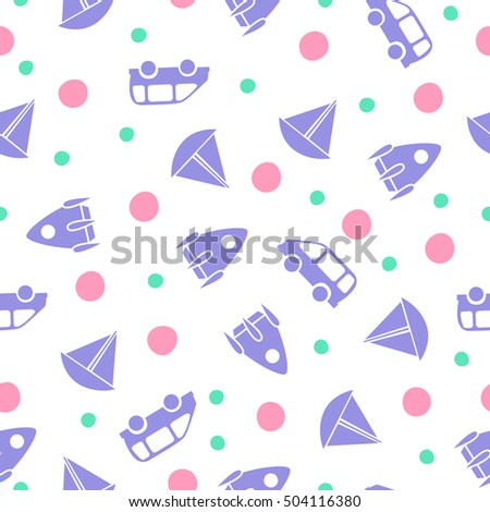 Boy Baby Shower Wrapping Paper Seamless Stock Vector 504116380