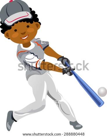 boy baseball player - stock vector