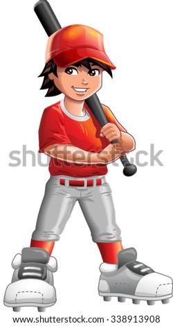 Boy Baseball, Softball or Little League Player, holding the baseball bat.  - stock vector