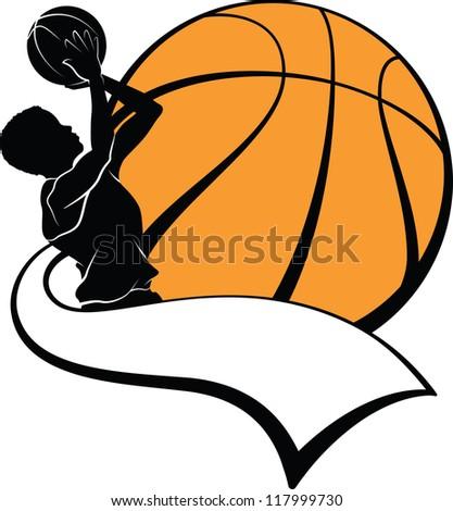 Boy Basketball Shooter with Pennant - stock vector