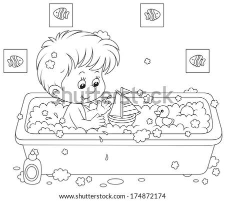 Boy bathing - stock vector