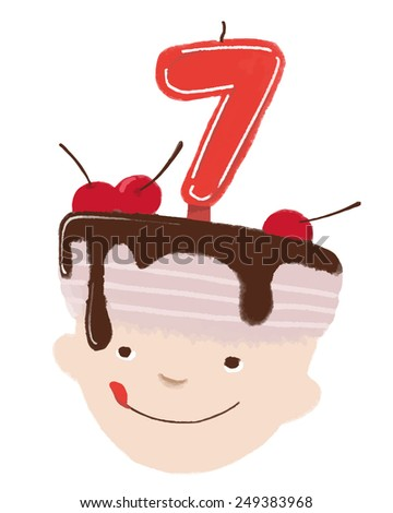 Boy birthday 7 years old. Vector. May be used not only on white background. - stock vector