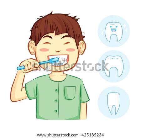 boy brush the teeth cartoon vector - stock vector