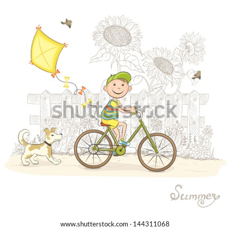 Boy by bicycle with background from sunflowers