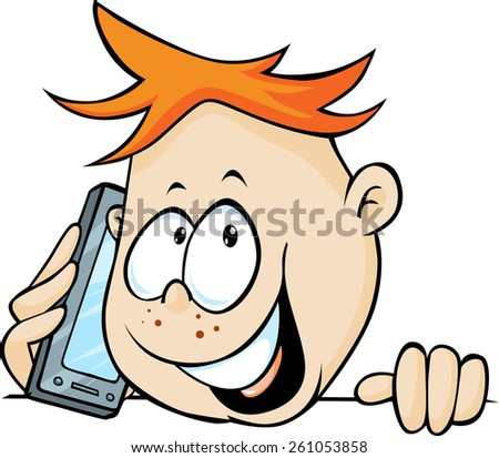 boy calling with mobil phone, peeking out - vector illustration - stock vector