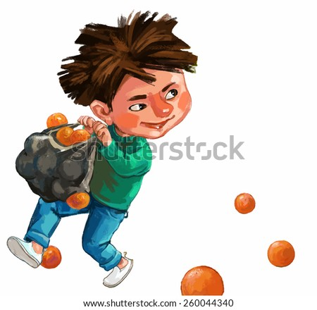 Boy carrying the grocery bag with oranges. Children illustration for School books, magazines, advertising and more. Separate Objects. VECTOR. - stock vector
