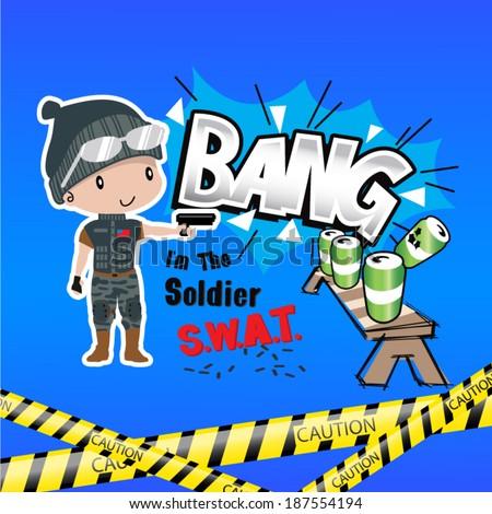 boy cartoon swat shooting drills in caution area - stock vector