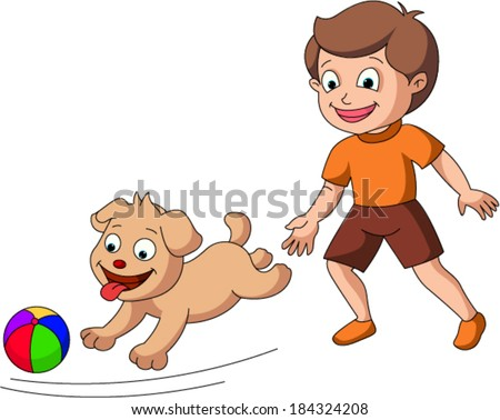 Boy chasing dog with a ball - stock vector
