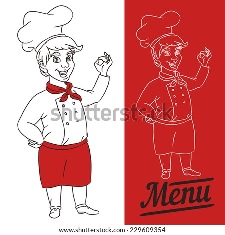 boy chef showing OK - stock vector