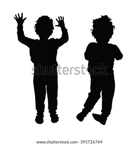 boy child silhouette illustration in black color - stock vector