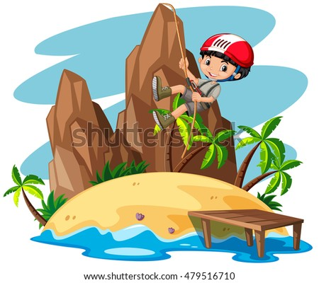 Boy climbing up the mountain illustration
