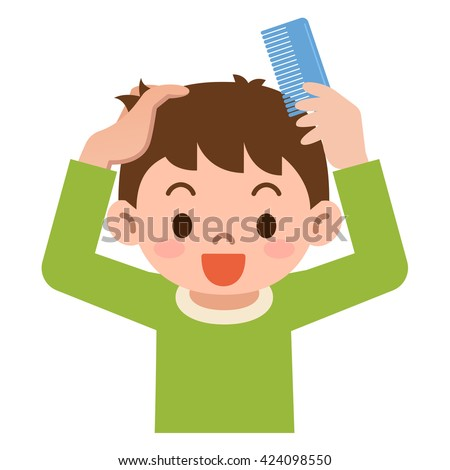 Boy comb the hair with a comb - stock vector