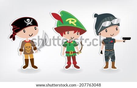 boy costumes set vector. - stock vector
