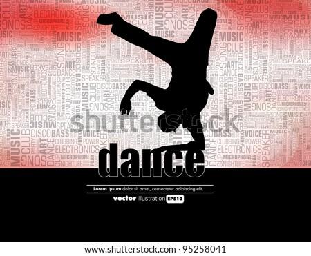 Boy dancing breakdance - stock vector