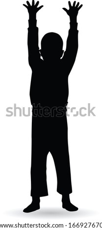boy doing gymnastic exercises silhouette vector illustration - stock vector