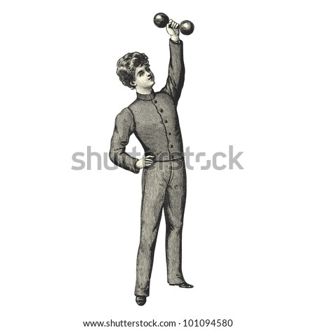 "Boy doing weight training - Vintage engraved illustration - ""La mode illustree"" by Firmin-Didot et Cie in 1897 France - stock vector"