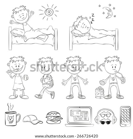 Boy draw in outline. Boy wakes up, sleeping in bed. Boy brushing teeth, comes with a backpack, drinking a cocktail. Objects student: mugs, caps, sandwich, laptop, headphones, glasses, smart phone. - stock vector