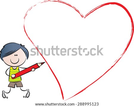 boy drawing a heart shape
