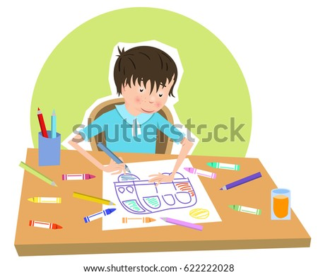 Boy Drawing A Picture Of Car Color Pencils And Crayons Lying On Table