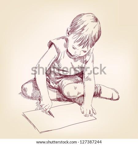 boy draws on the floor hand drawn vector illustration - stock vector