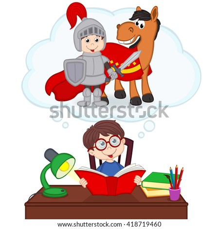 boy dreams of becoming knight - vector illustration, eps
