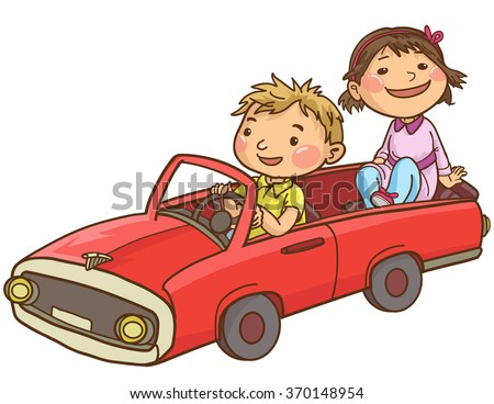 Boy driving Girl in his toy car. Isolated objects on white background. Great illustration for School books, Magazines, Advertising and more. VECTOR. - stock vector