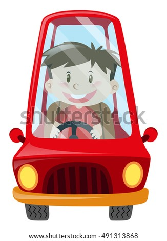 Boy driving red car illustration
