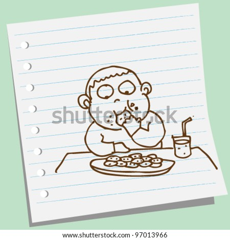 boy eating cookie doodle illustration vector - stock vector