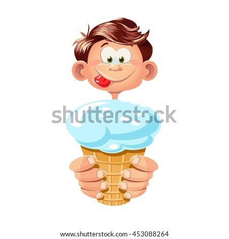 Boy eating ice cream. Vector cartoon picture. Isolated on white background.