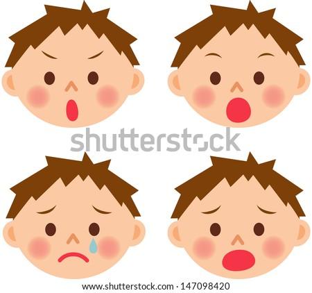boy emotion - stock vector