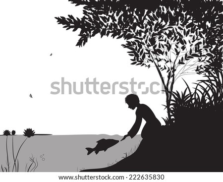 boy feeds the carp under the water, near the river, touch the fish, unusual friendship, black and white - stock vector