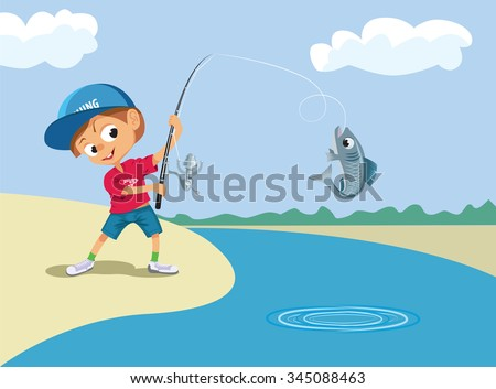 Boy fishing in a river. Vector illustration