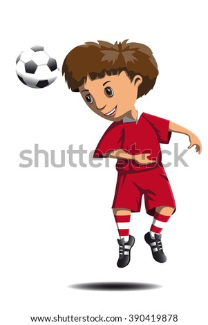 boy football player in red jumping ball hit his head - stock vector