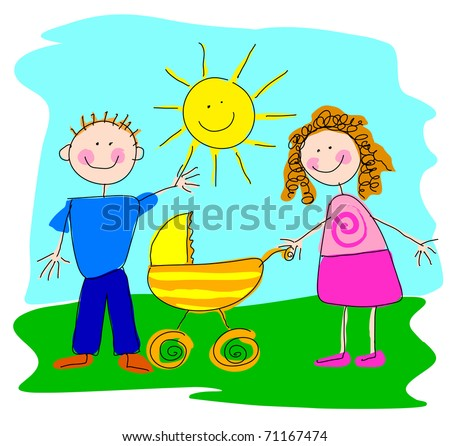 Boy, girl and pram A boy and a girl with an empty baby-carriage - stock vector