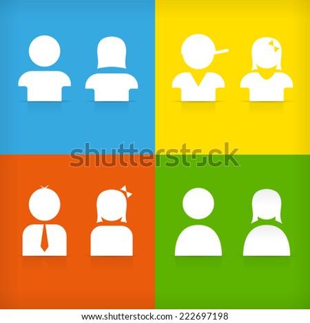 Boy girl man woman male female kid icon symbol default user - stock vector
