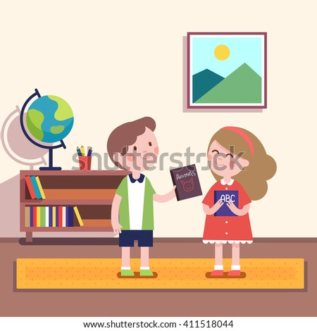 Boy giving book about animals to a girl holding abc primer volume. Kids friendship characters. Modern flat vector illustration clipart. - stock vector
