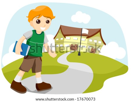 Boy going to School - Vector