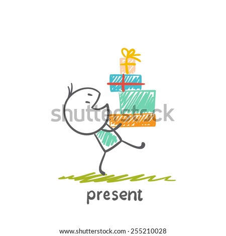 boy has a lot of gifts illustration - stock vector